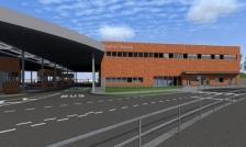 Установку стропил отпраздновали в новом пешеходном терминале в МАПП Нарва-1